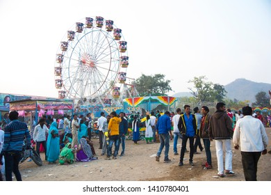 AMRAVATI, MAHARASHTRA, INDIA, 22 JANUARY 2018 : Unidentified  Local people in the annual fair at village, daily lifestyle in rural area in India.