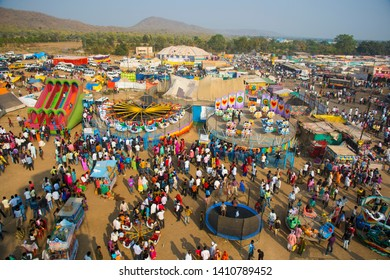 AMRAVATI, MAHARASHTRA, INDIA, 22 JANUARY 2018 : Aerial view of the annual fair at village, daily lifestyle in rural area in India.