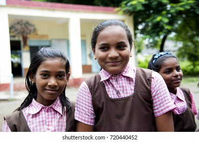 AMRAVATI, MAHARASHTRA, INDIA 22 SEPTEMBER 2017 : Unidentified happy Indian rural school student on the ground of school at the village.