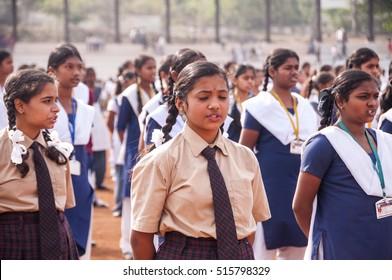 AMRAVATI, MAHARASHTRA, INDIA, 26 JANUARY 2015: unidentified school  Student singing national anthem on occasion of India Republic Day on ground of city stadium.
