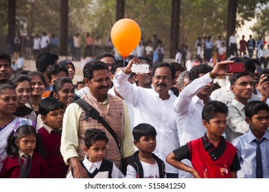 AMRAVATI, MAHARASHTRA, INDIA, 26 JANUARY 2015 : unidentified people celebrating the India Republic Day on ground of city stadium, January, 26, 2016 in Amravati, Maharashtra, India.
