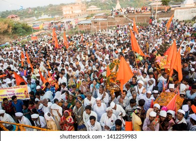 AMRAVATI, MAHARASHTRA, INDIA 5 NOVEMBER 2018 : Aerial view of pilgrims or warkari participate in religious procession, They worship of Vithoba an Avatar of Vishnu.