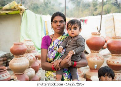 AMRAVATI, MAHARASHTRA, INDIA 5 NOVEMBER 2017 : Portrait of unidentified happy Indian rural people at their village in morning, daily lifestyle in rural area in Maharashtra.