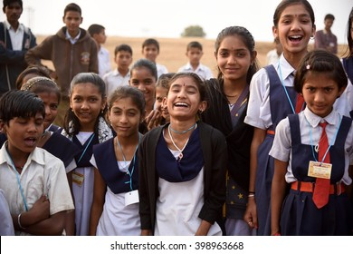 AMRAVATI, MAHARASHTRA, INDIA -  FEBRUARY 5 : Happy Indian rural school boy and girl at their school,  Amravati , Maharashtra, India 5 February 2016.