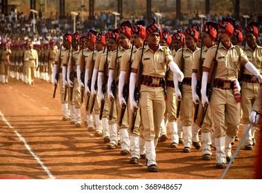 AMRAVATI, MAHARASHTRA, INDIA, JANUARY - 26, 2016:  parading at Jawaharlal Nehru stadium on occasion of India Republic Day, January, 26, 2016,  Amravati, Maharashtra, India.