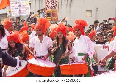AMRAVATI, MAHARASHTRA, INDIA, JANUARY - 26, 2016: Student celebrating the India Republic Day on street of city, January, 26, 2016 in Amravati, Maharashtra, India.