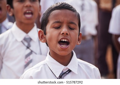 AMRAVATI, MAHARASHTRA, INDIA, JANUARY - 26, 2015 : portrait of unidentified school  Student celebrating the India Republic Day on ground at stadium of city.