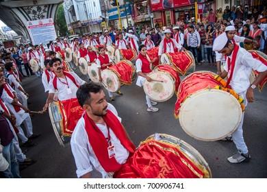 AMRAVATI, MAHARASHTRA, INDIA - SEPTEMBER 05: Lord Ganesha procession for Ganesh Chaturthi, people celebrating Ganesh Chaturthi with music and drums on September 05, 2016 in Maharashtra, India.
