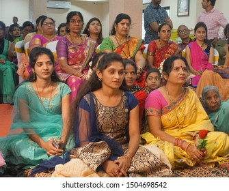 AMRAVATI,MAHARASHTRA,INDIA 7 JULY 2019 : Relatives for blessing the Groom and Bride on the occastion of Engagement ring ceremony. Indian traditional marriage ceremony is full of tradition and culture.
