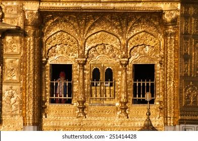 AMRITSAR, INDIA, DEC - 7, 2014: Windows of Golden Temple (Harmandir Sahib also Darbar Sahib). Golden Temple is the holiest Sikh gurdwara located in the city of Amritsar, Punjab, India.