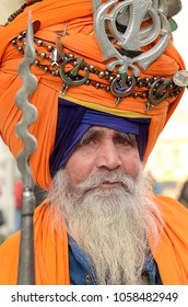 AMRITSAR, INDIA - JAN 14,2016: A holyman was seen on Jan 14, 2016 at Amritsar, Golden Temple sporting a traditional decorative and colorful headdress called turban.