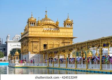 Amritsar, India - March 29, 2016: Golden Temple (Harmandir Sahib) in Amritsar, Punjab, India