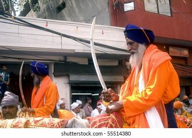 AMRITSAR, INDIA - MAY 1: Sikh warriors at the Full Moon Festival on May 1, 2010 in Amritsar, Punjab, India.