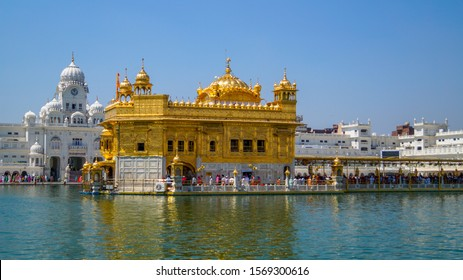Amritsar, Punjab, India: April 14, 2019: The famous golden temple also known as harmandir sahib located in amritsar,