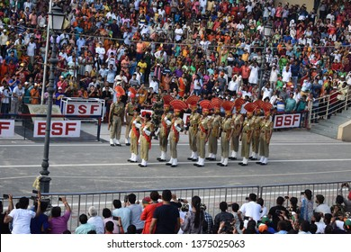 Amritsar, Punjab/India - August 16, 2018 india and pakistan have jointly followed ceremony at the Attari-Wagah border also this ceremony takes place every evening