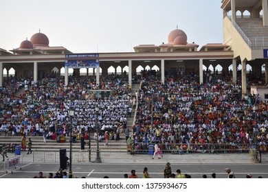Amritsar, Punjab/India - August 16, 2018: People have gathered to watch the india pakistan border ceremony at atari wagah border in amritsar punjab