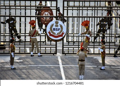 Amritsar,Punjab/ India-Oct 2018: BSF and Pakistani soldiers at wagah border.