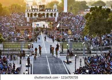 Amritsar,Punjab/ India-Oct 2018: Flag down ceremony in wagah border.