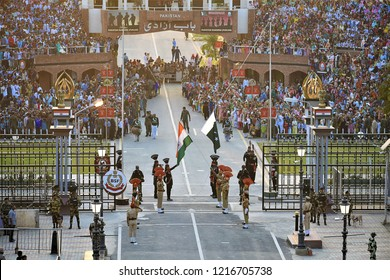 Amritsar,Punjab/ India-Oct 2018: Flag down ceremony in wagah border.