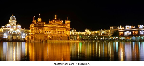 Amritser, Punjab / India - May 30 2019: The Harmandar Sahib also known as Darbar Sahib, is a Gurdwara located in the city of Amritsar, Punjab, India. It is the preeminent pilgrimage site of Sikhism.