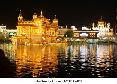 Amritser, Punjab/ India - Mayy 30  2019: The Harmandar Sahib, also known as Darbar Sahib, is a Gurdwara located in the city of Amritsar, Punjab, India.