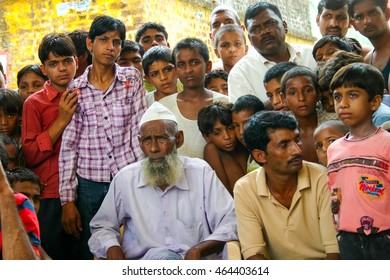 Amroha, Utar Pradesh, India - 2011: Unidentified Indian people from slums