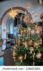 AMRUM, GERMANY - JANUARY 01, 2019: Christmas Tree in the Church of Nebel on the Island Amrum in Germany
