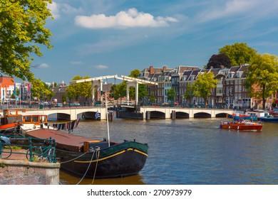 Amstel and bridge Magere Brug, Amsterdam, Holland