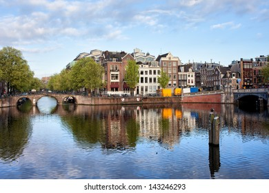 Amstel river waterfront in the city of Amsterdam, Netherlands, North Holland province.