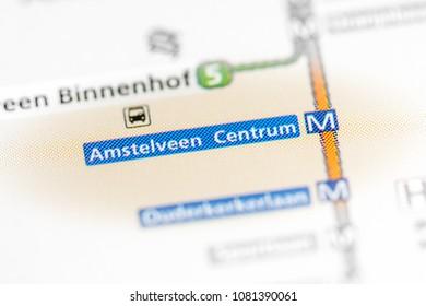 Amstelveen Centrum Station. Amsterdam Metro map. on a map.