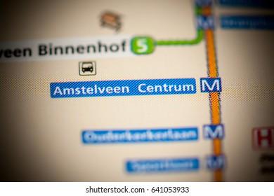 Amstelveen Centrum Station. Amsterdam Metro map.