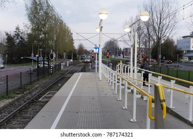 Amstelveen, The Netherlands - 7th November 2017 : Locals wait for Metro services at one of GVB's stations in Amstelveen