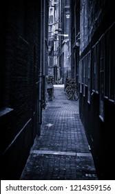 Amsterdam alley, Dutch city street, tourism in europe