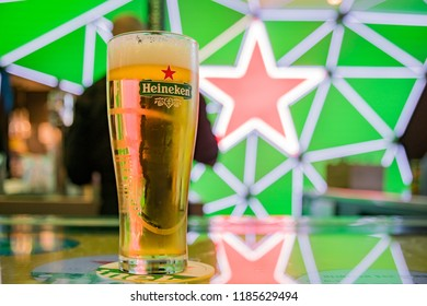 Amsterdam, APR 22: Close up shot of a glass of cold Heineken beer on APR 22, 2018 at Amsterdam, Netherlands