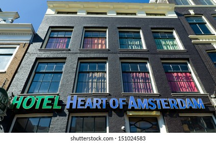 AMSTERDAM - APRIL 1: Budget hotel Heart of Amsterdam on April 1 2013 in Amsterdam. It is a newly renovated hostel which is inspired from the fantasy world of movies. Located in the red light district.