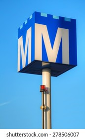 AMSTERDAM - APRIL 15: Amsterdam station sign on April 15, 2015 in Amsterdam, Netherlands. The Amsterdam Metro is a mixed rapid transit and light rail system.