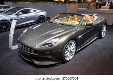 AMSTERDAM - APRIL 16, 2015: Aston Martin Vanquish Volante sports car at the AutoRAI 2015. Aston Martin Lagonda Limited is a British manufacturer of luxury sports cars, founded in 1913.