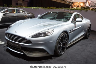 AMSTERDAM - APRIL 16, 2015: Aston Martin Vanquish sports car at the AutoRAI 2015.