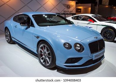 AMSTERDAM - APRIL 16, 2015: Bentley Continental GT V8S car showcased at the AutoRAI Motor Show.
