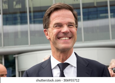 AMSTERDAM - APRIL 16, 2015: Dutch Prime Minister Mark Rutte attends the opening of the AutoRAI 2015.