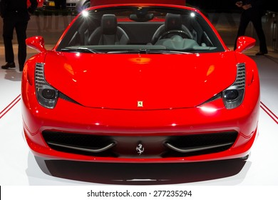 AMSTERDAM - APRIL 16, 2015: Ferrari 458 Spider on display at the AutoRAI 2015.