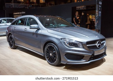 AMSTERDAM - APRIL 16, 2015: Mercedes-Benz CLA-Class car at the AutoRAI 2015. The CLA was launched in January 2013.