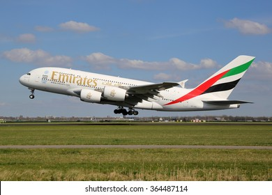 AMSTERDAM - APRIL 19: An Emirates Airbus A380 taking off on April 19, 2015 in Amsterdam. The Airbus A380 is the world's largest passenger airliner. Emirates is a airline based in Dubai, Arab Emirates.