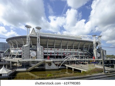 Amsterdam, April 2017. Outside view of the Amsterdam Arena soccer stadium, home of the Ajax football club