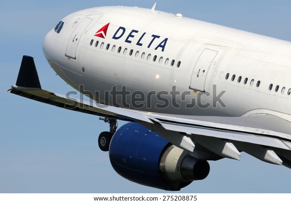 AMSTERDAM - APRIL 21: A Delta Air Lines Airbus A330 takes off on April 21, 2015 in Amsterdam. Delta is one out of the three major American legacy carriers with its headquarters in Atlanta.