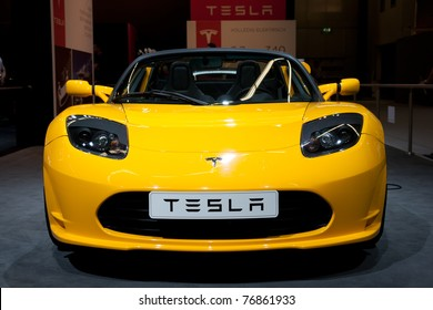 AMSTERDAM - APRIL 22 - Tesla Roadster Sport 2.5 on display during the AutoRAI motorshow April 22, 2011 in Amsterdam, The Netherlands.