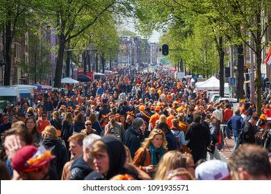 AMSTERDAM - APRIL 27, 2018: Kingsday celebrations in Amsterdam during the Kingsday 2018.