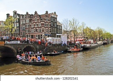 AMSTERDAM - APRIL 30: Celebration of queensday on April 30, 2012 in Amsterdam, The Netherlands