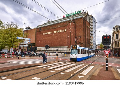 AMSTERDAM - April 4, 2018: Old Heiniken brewery building in Amsterdam. Now it is a Heiniken Experience museum.