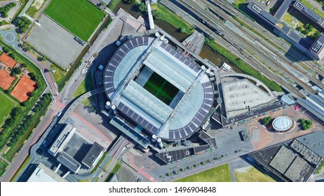 Amsterdam Arena stadium Ajax, looking down aerial view from above